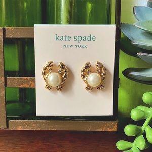 Kate Spade Shore Thing Crab Pearl Earrings NWT